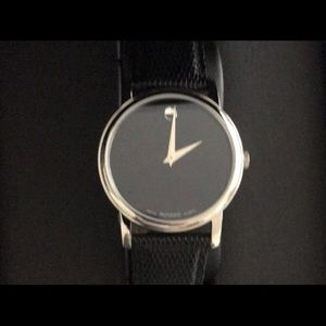 SALE! MOVADO Black Genuine Leather Authentic Watch
